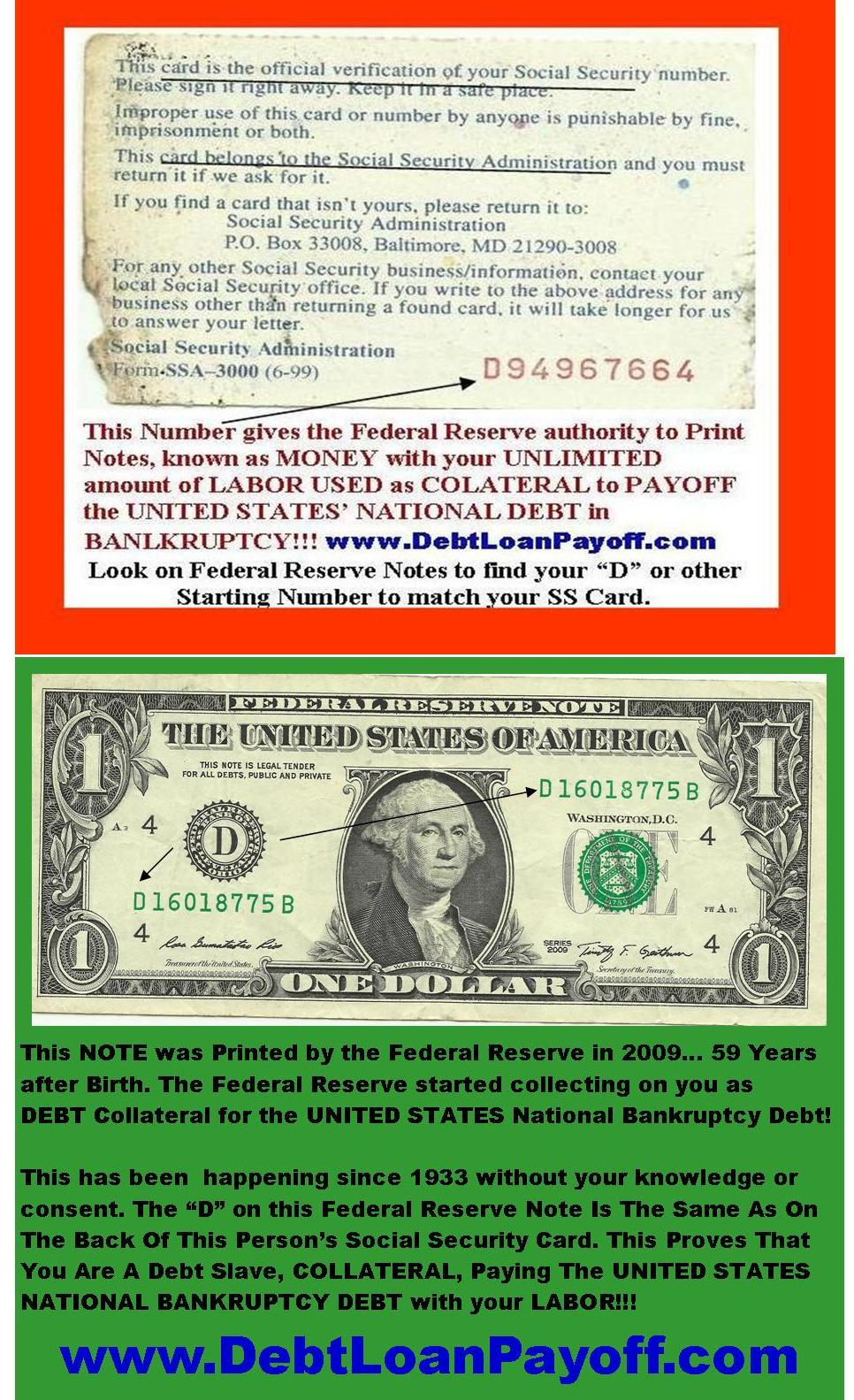 Federal Reserve Notes From Social Security Insurance Pays U S Debt on Number Bond Examples