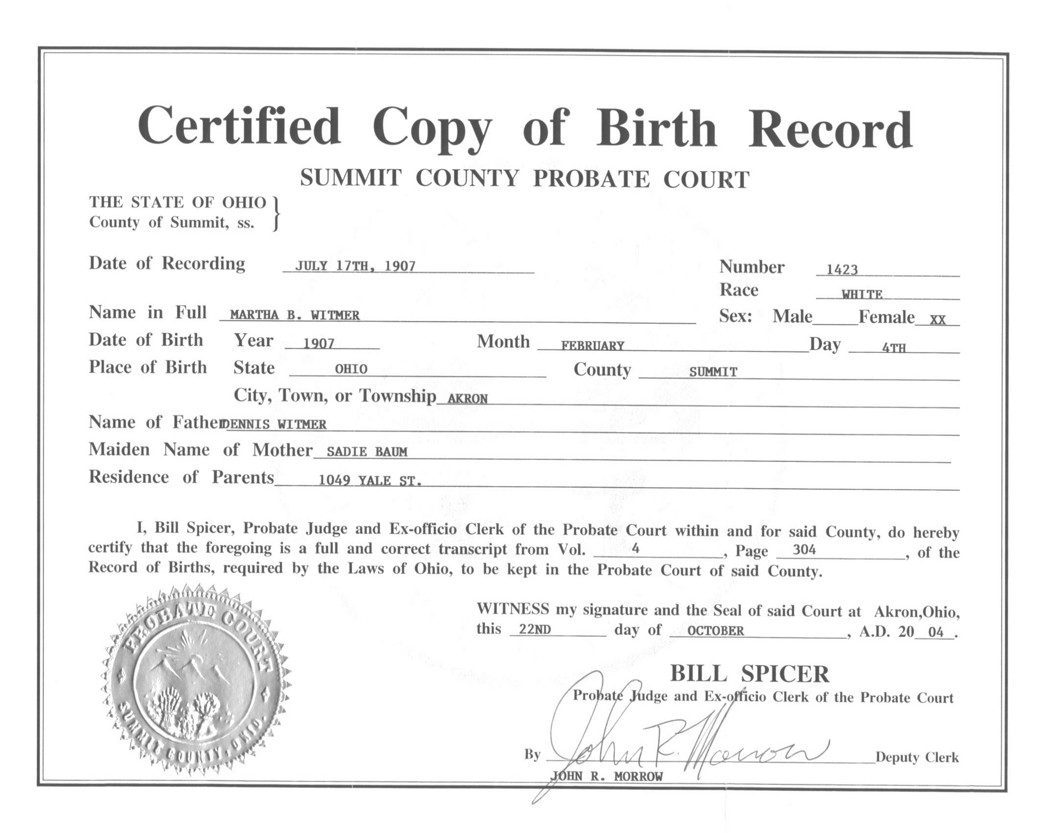 Live Birth Certificate Debt Loan Payoff